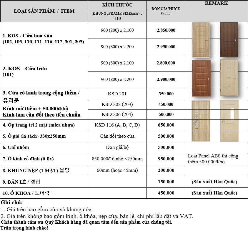 Bảng báo giá cửa nhựa ABS Hàn Quốc