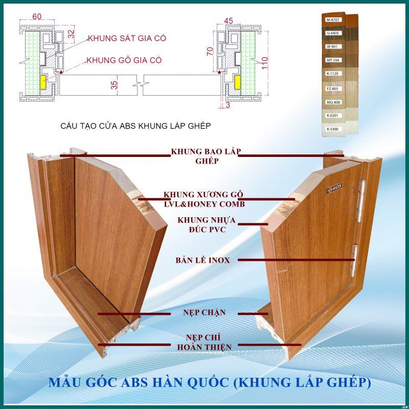 Cấu tạo cửa nhựa ABS Hàn Quốc - Mẫu cửa khung lắp ghép