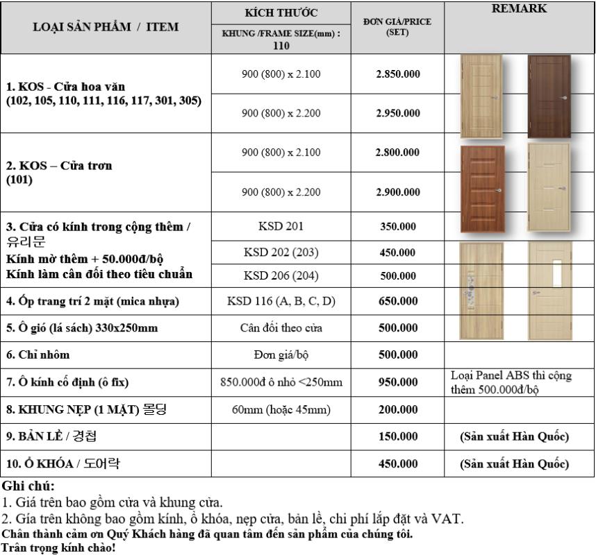 Bảng báo giá cửa nhựa ABS Hàn Quốc mới nhất năm 2021